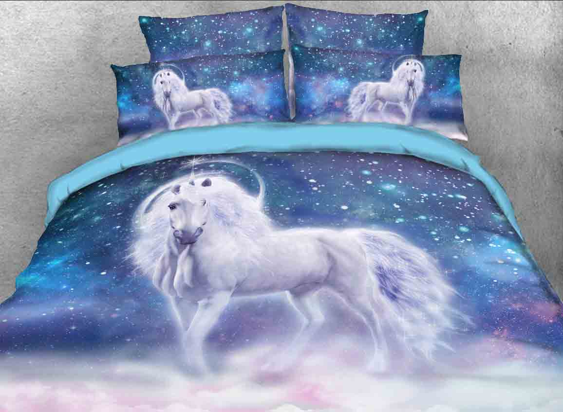 Onlwe 3d White Unicorn And Galaxy Printed Cotton 4 Piece