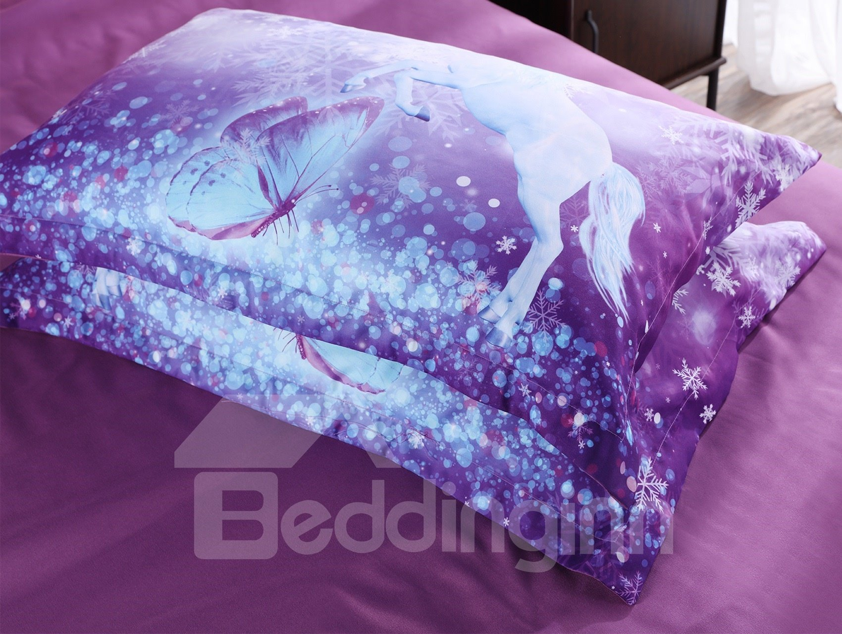 Onlwe 3D Purple Unicorn Printed Cotton All Season 4-Piece Bedding Sets