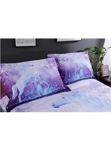 3D Unicorn and Butterfly Printed Cotton 4-Piece Purple Bedding Sets/Duvet Covers