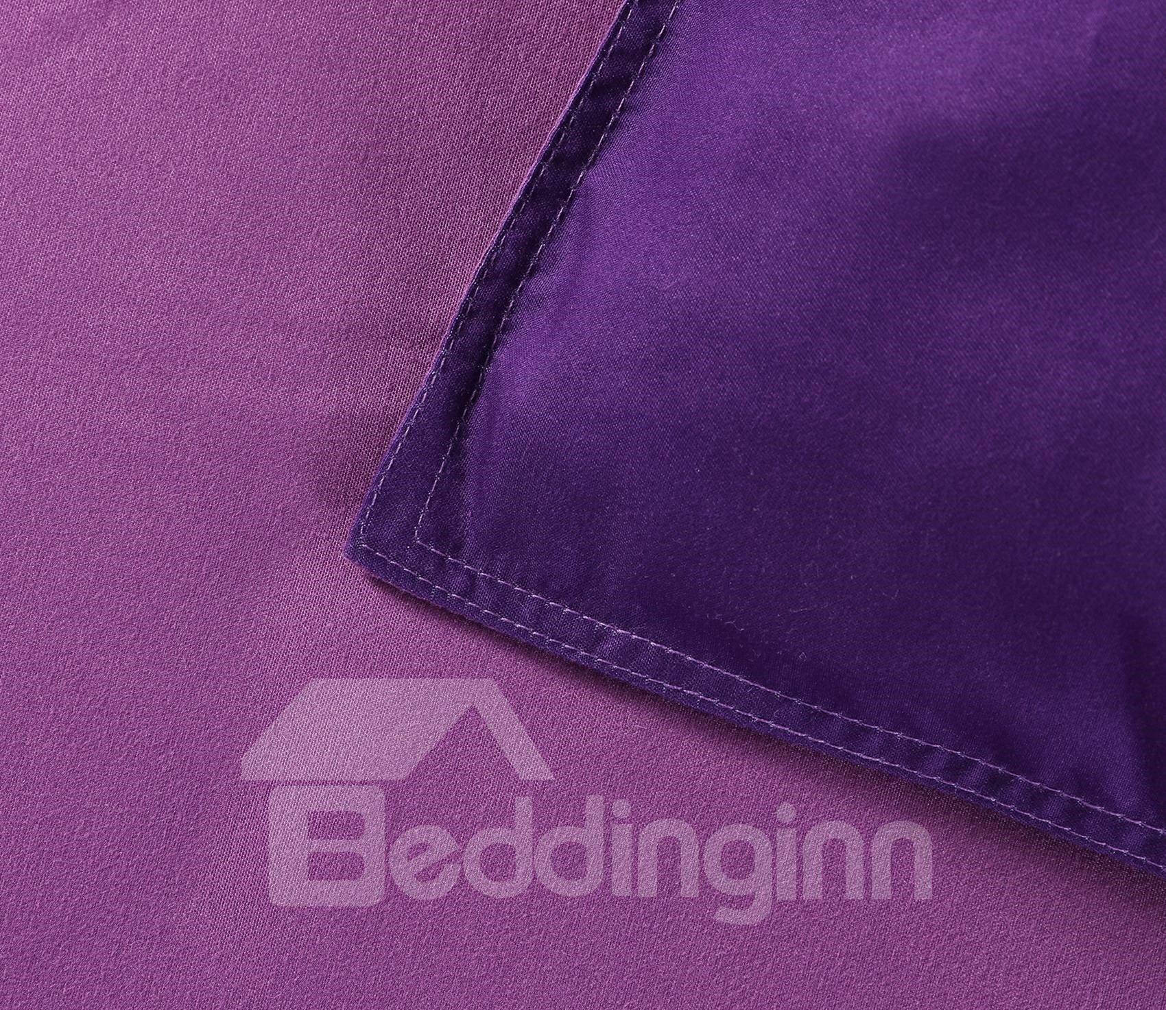 Purple Unicorn Printed Cotton All Season 3D 4-Piece Bedding Sets/Duvet Covers