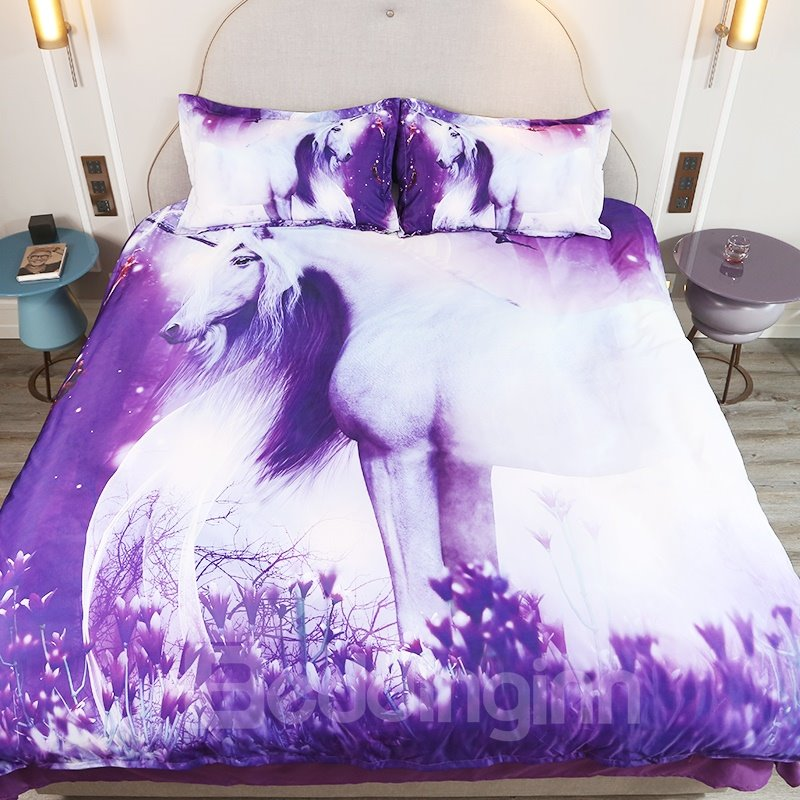 Girl Unicorn Printed Cotton All Season 4-Piece 3D Bedding Sets