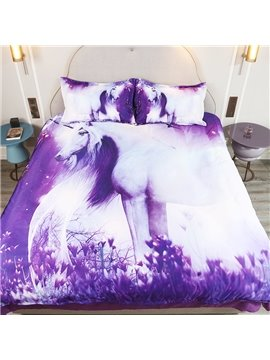 Purple_Unicorn_Nondeformation_Nonfade_3D_Printed_4Piece_Polyester_Bedding_Sets