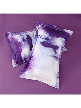 3D Unicorn and Fairies Printed Cotton 4-Piece Purple Bedding Sets/Duvet Covers