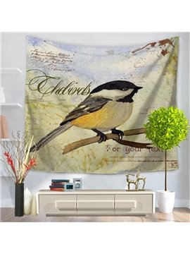 Oil Painting Lonely Bird in a Branch Decorative Hanging Wall Tapestry