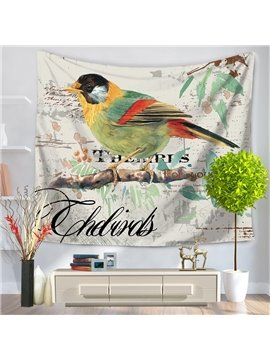 Oil Painting Green and Yellow Bird Pattern Decorative Hanging Wall Tapestry