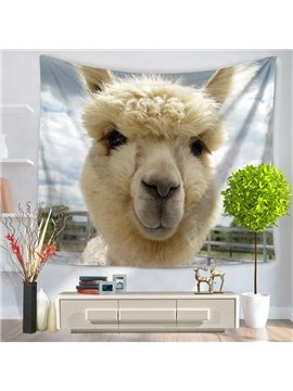 Super Cute White Alpaca Pattern Blue Decorative Hanging Wall Tapestry