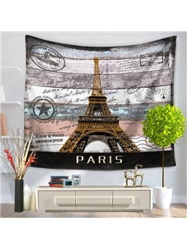 Paris Postcard Eiffel Tower Pattern Vintage Style Decorative Hanging Wall Tapestry