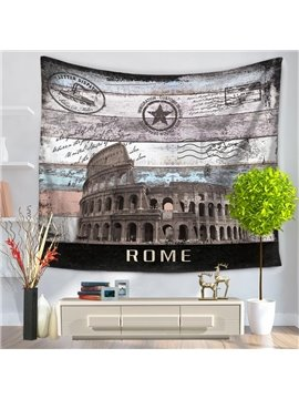 Rome Postcard Colosseum Pattern Vintage Style Decorative Hanging Wall Tapestry