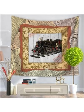 Old Fashioned Train with Photo Frame Vintage Style Decorative Hanging Wall Tapestry