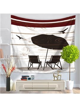 Sea Beach Vacation with Seagulls Casual Style Decorative Hanging Wall Tapestry