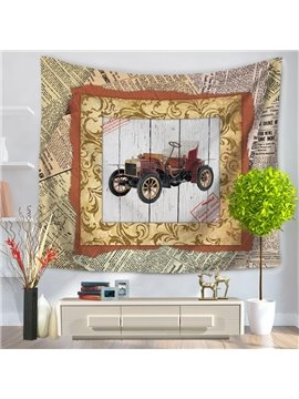 Old Fashioned Car with Photo Frame Vintage Style Decorative Hanging Wall Tapestry