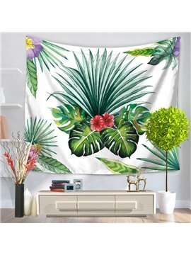 Tropical Plants and Palm Leaves Pattern Natural Style Decorative Hanging Wall Tapestry