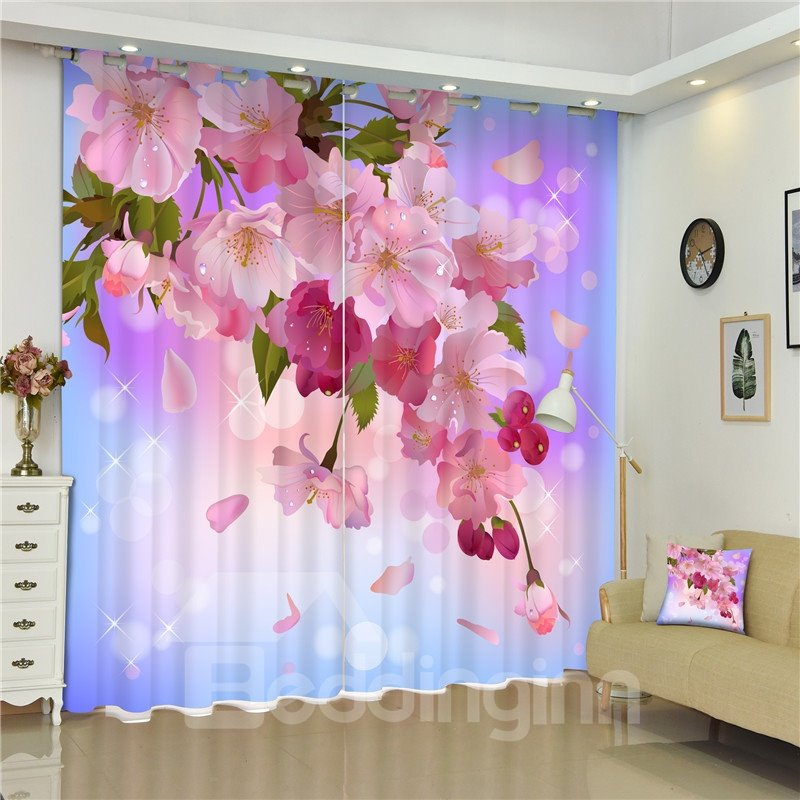 Pink Peach Flowers with Green Leaves Romantic Purple 3D Bedroom and ...