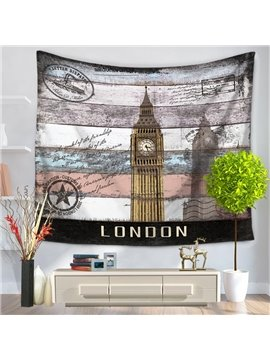 London Postcard Big Ben Clock Pattern Vintage Style Decorative Hanging Wall Tapestry