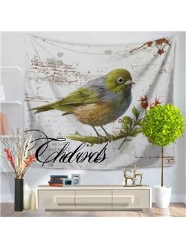 Oil Painting Lonely Birds Vintage Style Decorative Hanging Wall Tapestry