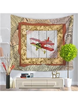 Old Fashioned Airplane with Photo Frame Vintage Style Decorative Hanging Wall Tapestry