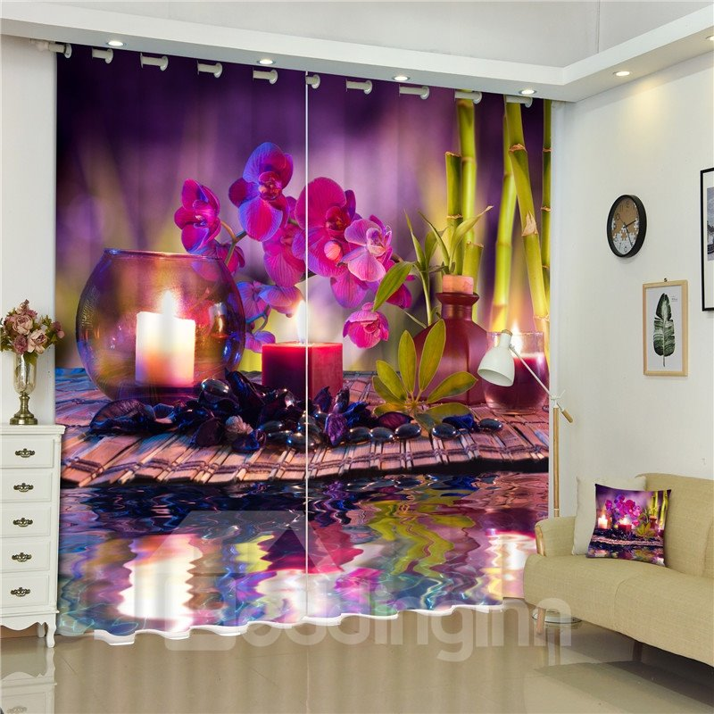 Beddinginn Iris Candle Light Charming Scenery Custom Window Curtain Purple Curtains Drapes Image