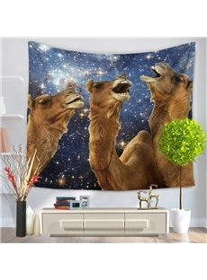 Tree Camel Alpacas with Happiness Laughter Galaxy Stars Decorative Hanging Wall Tapestry