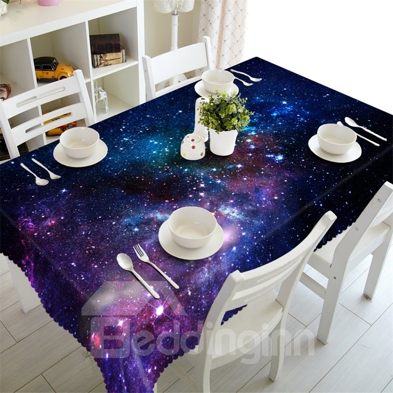 3D Vast Galaxy and Blue Starry Sky Printed Oil-Proof and Durable Table Cover