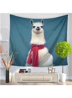 Cute White Alpaca with Red Scarf Pattern Blue Decorative Hanging Wall Tapestry