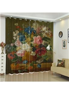 3D Colorful Peonies Printed with Flower Vast Retro Style Living Room Decorative Curtain