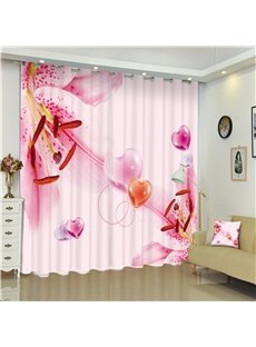 3D Peach Blossoms Pistils Printed Pink Style Decorative and Shading Curtain