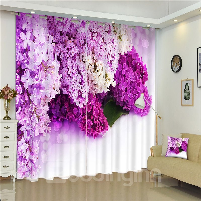 3D Flowers Collected Printed 2 Panels Decorative Custom Living Room ...