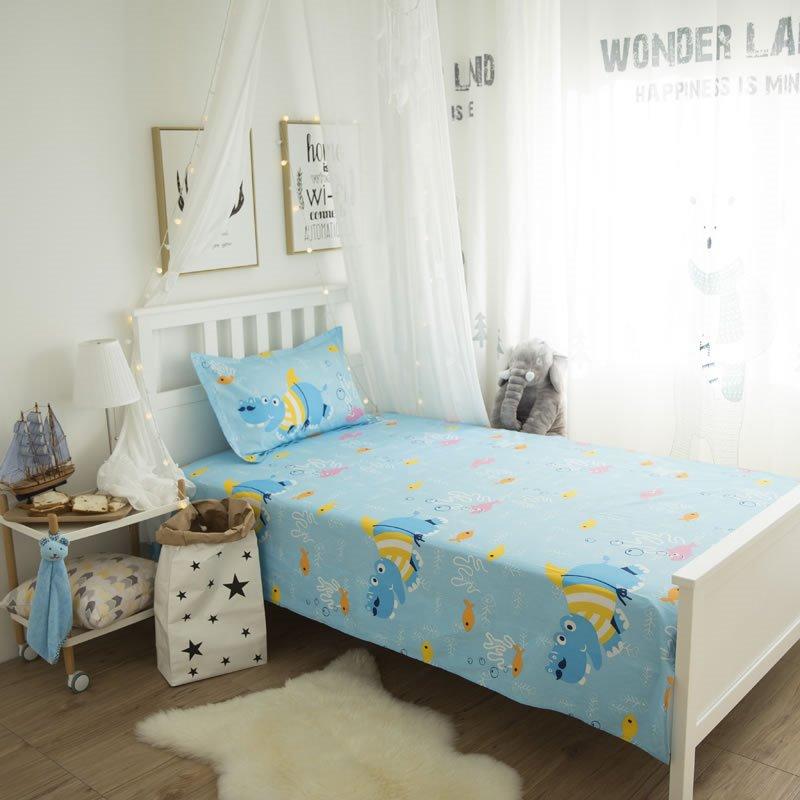 Sea World Printed Cotton 3-Piece Blue Duvet Covers/Bedding Sets