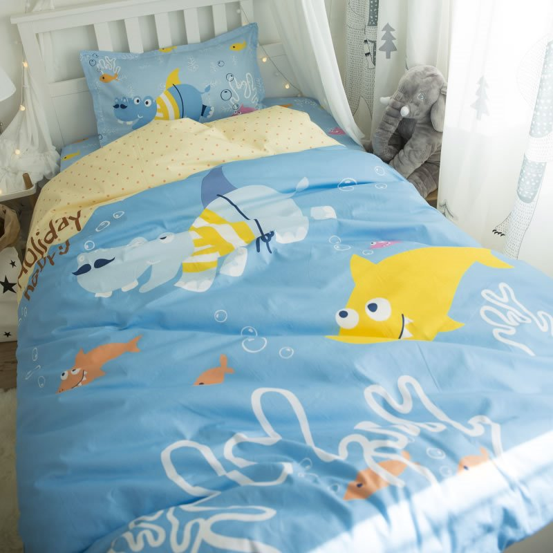 Sea World Printed Cotton 3-Piece Blue Duvet Covers/Bedding Sets