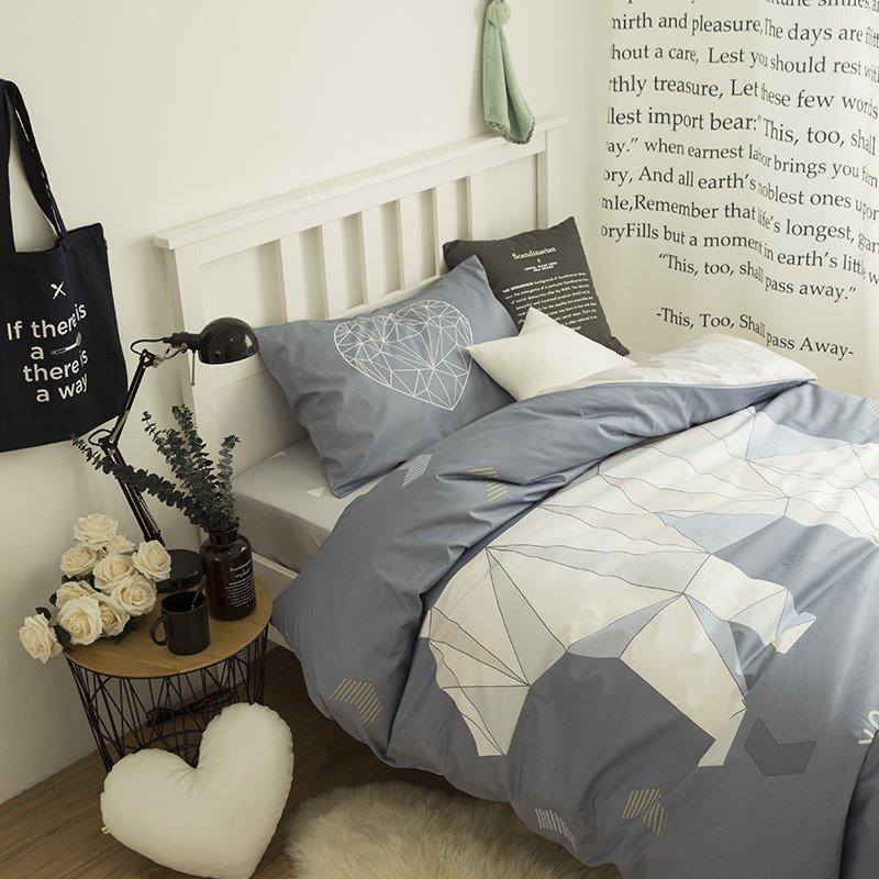 Polar Bear Printed Cotton 3-Piece Gray Duvet Covers/Bedding Sets