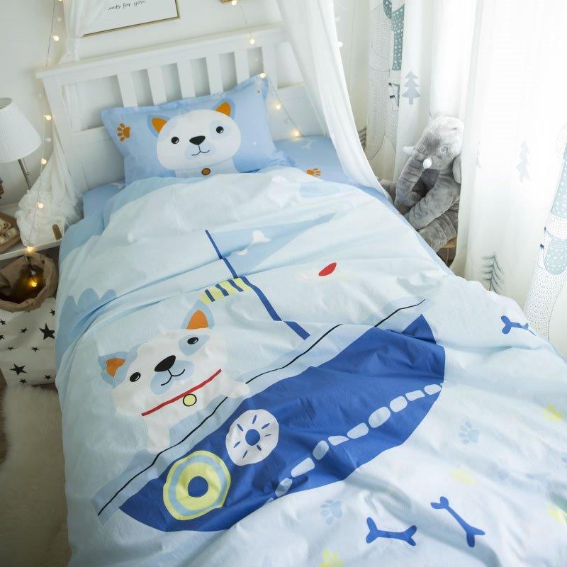 Captain Dog Printed Cotton 3-Piece Light Blue Duvet Covers/Bedding Sets