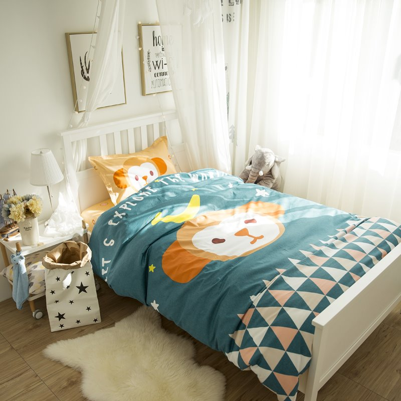 Little Monkey and Colorful Triangles Printed Cotton 3-Piece Blue Duvet Covers/Bedding Sets
