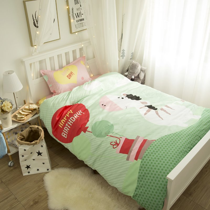 Little Horse and Happy Birthday Printed Cotton 3-Piece Duvet Covers/Bedding Sets
