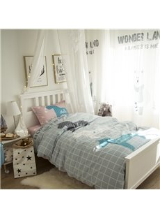 Unicorns and Grid Printed Cotton 3-Piece Gray Duvet Covers/Bedding Sets