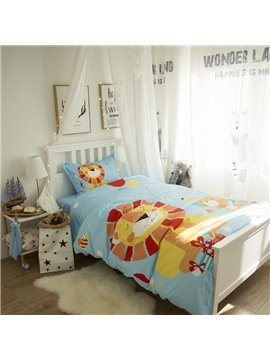 Cartoon Lion Printed Cotton 3-Piece Light Blue Duvet Covers/Bedding Sets