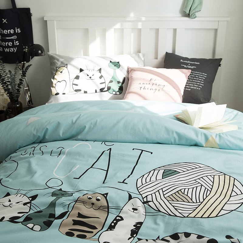 Cartoon Animals Printed Cotton 3-Piece Duvet Covers/Bedding Sets