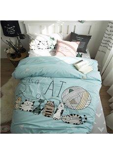 Cartoon Animals Printed Cotton 3-Piece Duvet Covers/Bedding Sets