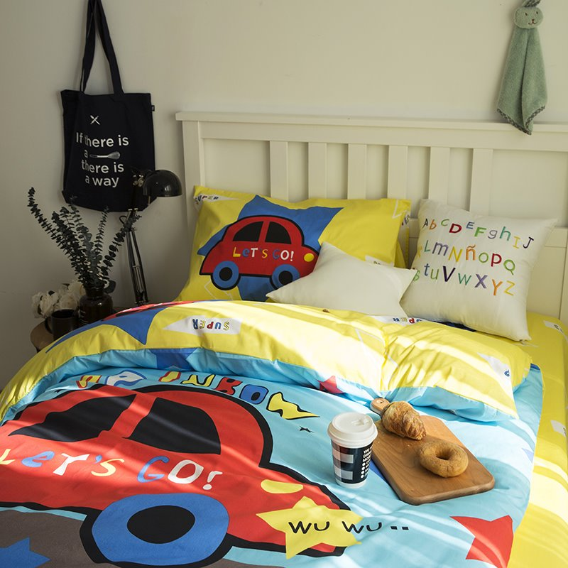 Little Cartoon Car Printed Cotton 3-Piece Duvet Covers/Bedding Sets