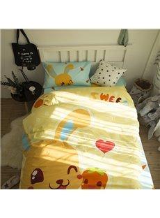Cartoon Rabbit Printed Cotton 3-Piece Duvet Covers/Bedding Sets