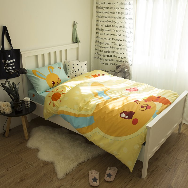 Cartoon Rabbit Printed Cotton 3-Piece Duvet Covers/Bedding Sets