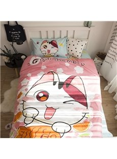 Cartoon Cat Printed Cotton 3-Piece Pink Duvet Covers/Bedding Sets