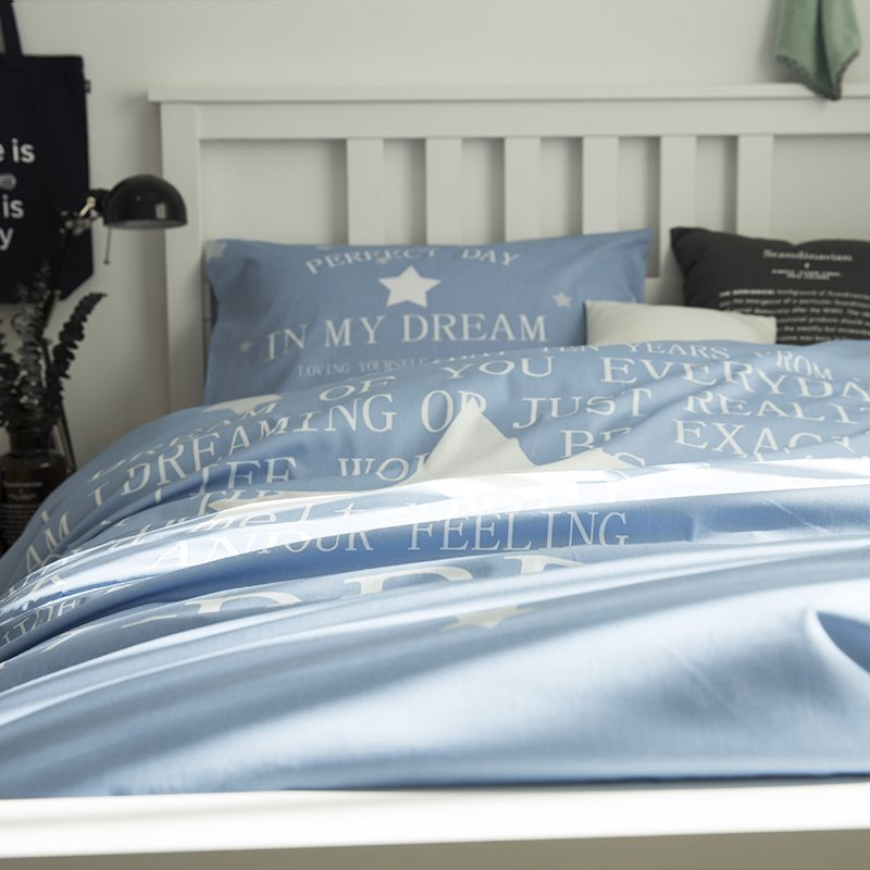 White Star Printed Cotton 3-Piece Light Blue Duvet Covers/Bedding Sets