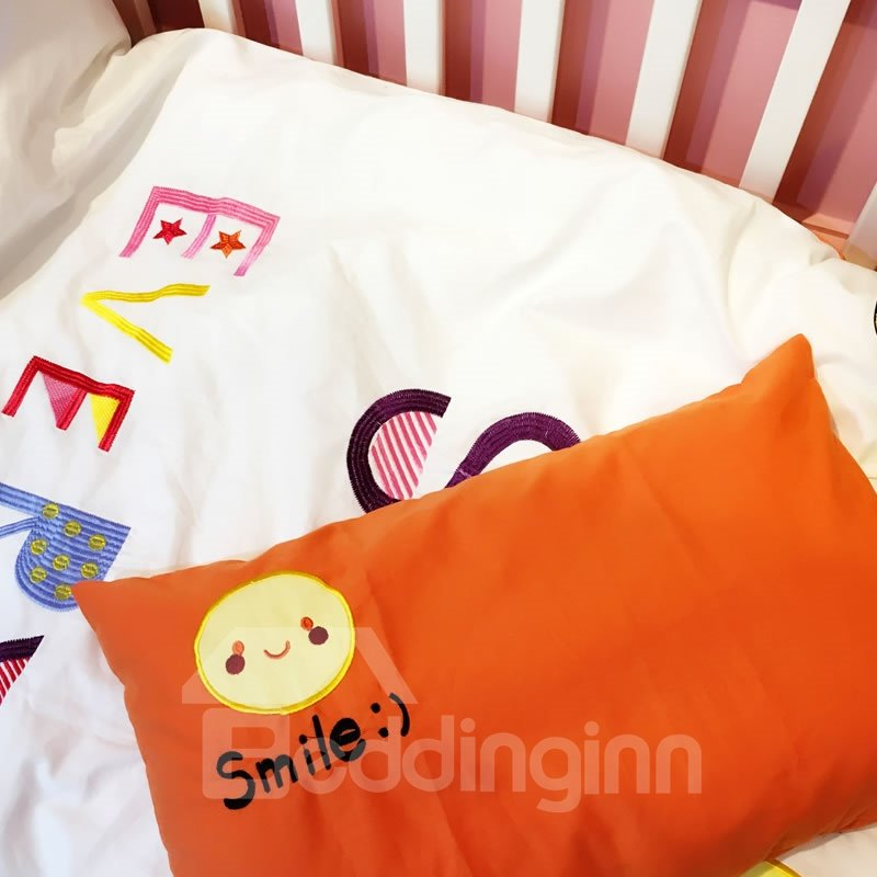 Letters Printed Cotton White and Orange 3-Piece Crib Bedding Sets