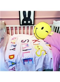 Letters Printed Cotton White and Pink 3-Piece Crib Bedding Sets