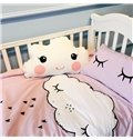 White Cloud Printed Cotton Light Purple 3-Piece Crib Bedding Sets