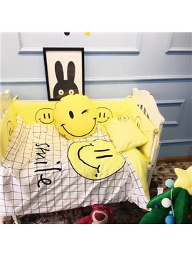 Smiling Face and Grid Printed Cotton 3-Piece Crib Bedding Sets