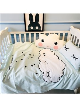 White Cloud Printed Cotton Light Blue 3-Piece Crib Bedding Sets