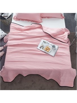 Solid Watermelon Red Simple Style Polyester Lightweight Summer Quilt