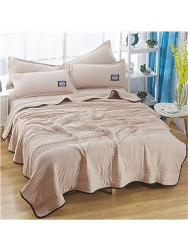 Solid Light Tan Simple Style Polyester Lightweight Summer Quilt