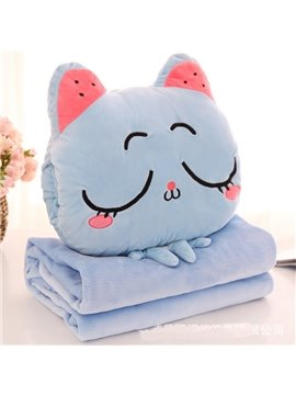Light Blue Cat with Closed Eyes Design Dual-Use Throw Pillow/Blanket